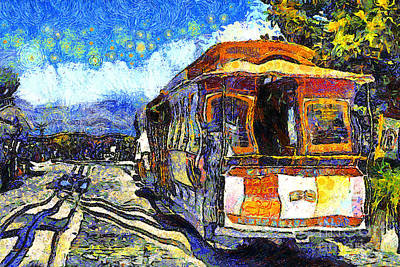Tourist Attraction Digital Art - Van Gogh Vacations In San Francisco 7d14099 by Wingsdomain Art and Photography
