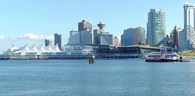 Vancouver Bc Waterfront Skyline Panorama. Print by Gino Rigucci