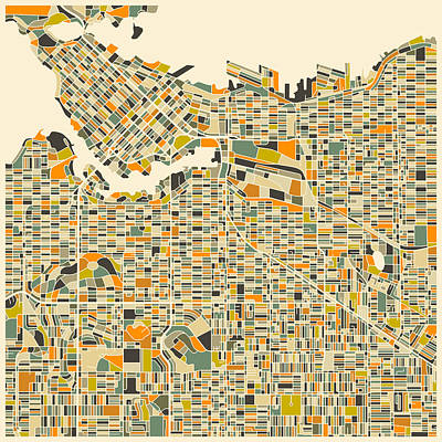 Colorful.modern Digital Art - Vancouver Map by Jazzberry Blue