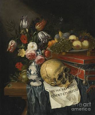 Wooden Table Painting - Vanitas Still Life With A Vase Of Flowers by Celestial Images