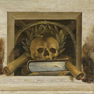 Jacob Van Campen Painting - Vanitas Still Life With Scull With Laurel Wreath And Two Burning Candles by Jacob van Campen
