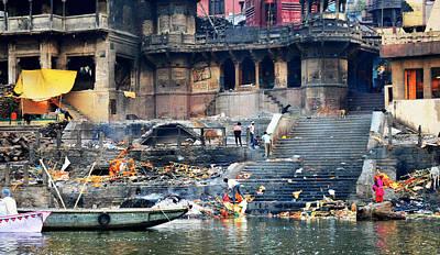 Cremation Ghat Photograph - Varanasi Burning Ghats by John And Laurel Rodgers