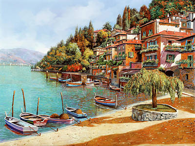Dock Painting - Varenna On Lake Como by Guido Borelli
