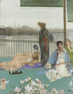 Tonalist Painting - Variations In Flesh Colour And Green The Balcony by James Abbott McNeill Whistler