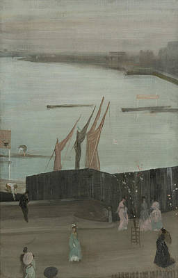 Tonalist Painting - Variations In Pink And Grey Chelsea by James Abbott McNeill Whistler