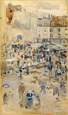 James Abbott Mcneill Whistler Drawing - Variations In Violet And Grey-market Place. Dieppe by James Abbott McNeill Whistler