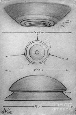 Space Ships Drawing - Variety Of Ufo Shapes And Sizes. Part 8 by Sofia Goldberg