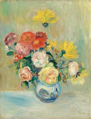 Pierre-auguste Renoir Painting - Vase Of Roses And Dahlias by Pierre-Auguste Renoir