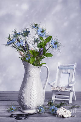 Vase Of Wild Flowers Print by Amanda And Christopher Elwell