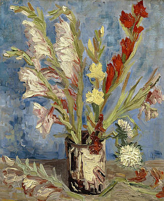 Gladiolus Painting - Vase With Gladioli And China Asters by Vincent van Gogh
