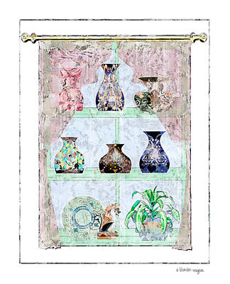 Vases Digital Art - Vases In The Window by Arline Wagner