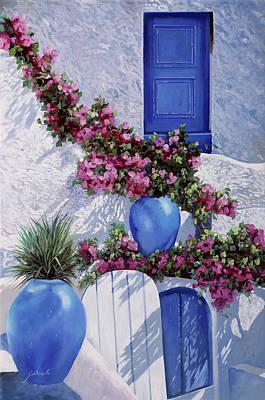 Vase Painting - Vasi Blu by Guido Borelli