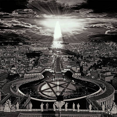 Conspiracy Digital Art - Vatican Rocking View Black And White by Marian Voicu