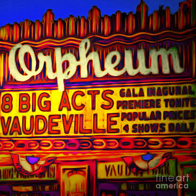 Vaudeville Night At The Orpheum Theater 20151222 Square Print by Wingsdomain Art and Photography