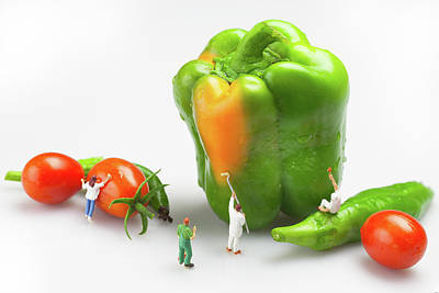 Greed Painting - Vegetable Painting Little People On Food by Paul Ge