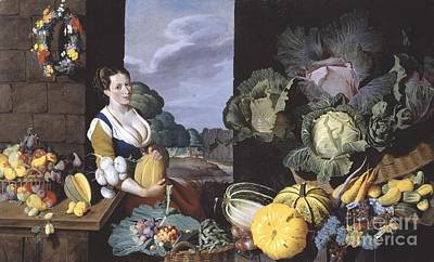 Nathaniel Painting - Vegetables And Fruit by Nathaniel Bacon