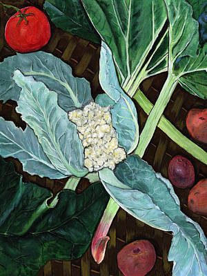 Cauliflower Painting - Veggie Basket by Sara Stevenson