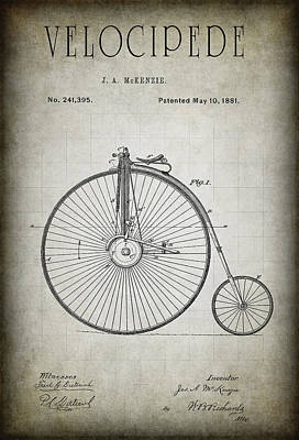 Velocipede Patent 1881 Print by Daniel Hagerman