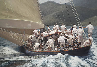 J Boat Painting - Velsheda's Run by Julia O'Malley-Keyes
