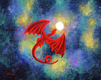 Nebula Painting - Velvet Red Dragon In Cosmic Moonlight by Laura Iverson