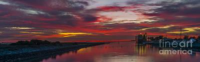 Silhoette Digital Art - Velvet Red Sunset by Milton Elliott
