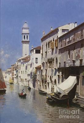 Seas Painting - Venetian Canal by Rubens Santoro