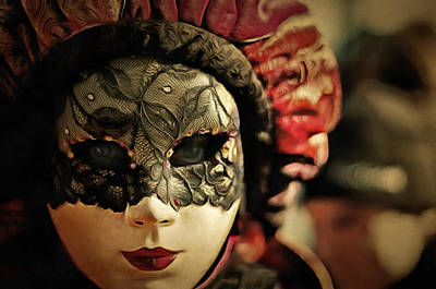 Red Painting - Venetian Carnival Mask Art by Wall Art Prints