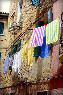 Vintage Laundry Photograph - Venetian Clothes by Valentino Visentini