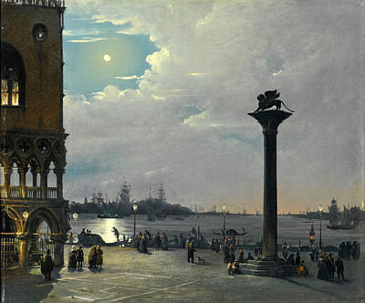 Ippolito Caffi Painting - Venice A Nocturnal View Of Piazza San Marco With The Ducal Palace by Ippolito Caffi