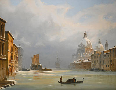 Ippolito Caffi Painting - Venice A View Of The City Under Snow With The Church Of The Salute by Ippolito Caffi