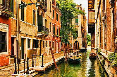 Canals Digital Art - Venice Alley by Mick Burkey