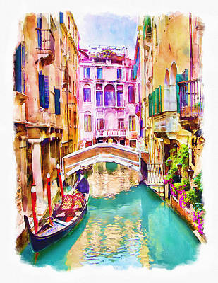Tourist Attraction Digital Art - Venice Canal 2 by Marian Voicu