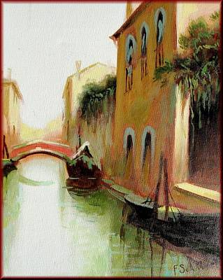 A Summer Evening Landscape Painting - Venice Canale by Schiller