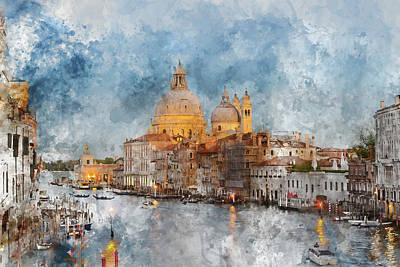 Venice Italy - Grand Canal At Dusk Print by Brandon Bourdages