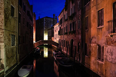 Venice Italy - Nightscape On A Small Canal Print by Georgia Mizuleva