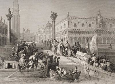 Piazza Drawing - Venice, Italy The Embarkation Of The by Vintage Design Pics