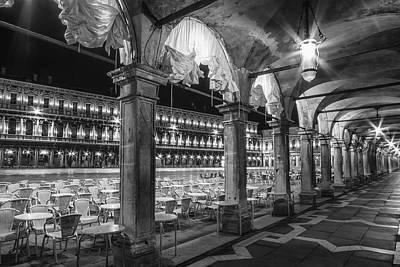 Venice St Mark's Square At Night Black And White Print by Melanie Viola