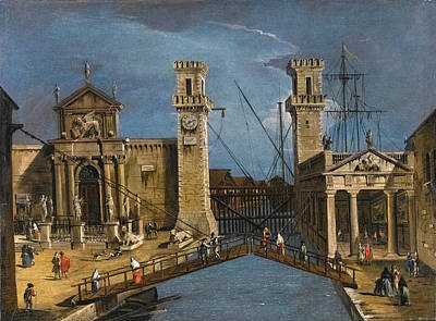 Francesco Guardi Painting - Venice The Entrance To The Arsenale by Circle of Francesco Guardi