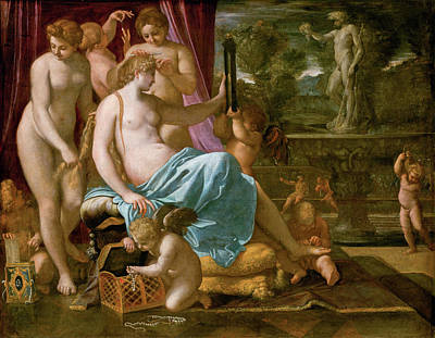 Goddess Painting - Venus Adorned By The Graces by Annibale Carracci