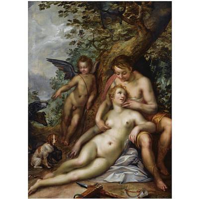 Hendrik Goltzius Painting - Venus And Adonis by Hendrik Goltzius
