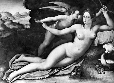 Eros Photograph - Venus And Cupid by Granger