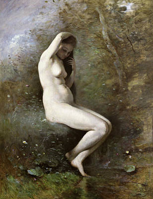 Hair-washing Painting - Venus Bathing by Jean Baptiste Camille Corot