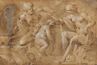 Drawing - Venus In The Forge Of Vulcan by Sisto Badalocchio