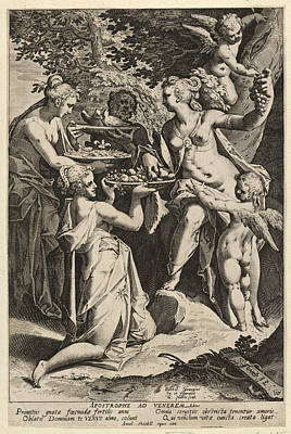 Drawing - Venus Receiving Gifts by Aegidius Sadeler