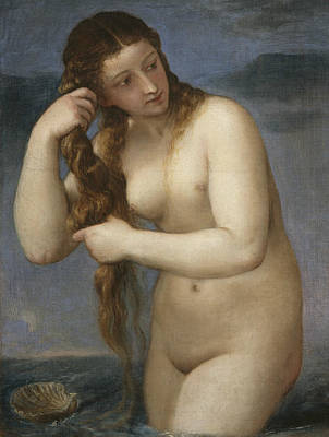 Goddess Mythology Painting - Venus Rising From The Sea by Titian