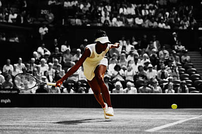 Venus Williams Mixed Media - Venus Williams In Pursuit by Brian Reaves