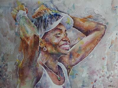 Venus Williams Painting - Venus Williams - Portrait 1 by Baresh Kebar - Kibar