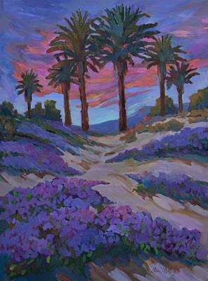 Verbena Painting - Verbena And Desert Sunrise by Diane McClary