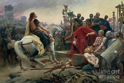 Vercingetorix Throws Down His Arms At The Feet Of Julius Caesar Print by Lionel Noel Royer