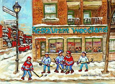 Verdun Pizza Restaurant Woodland Pizza Montreal Winter Scene Hockey Art Painting Carole Spandau      Print by Carole Spandau